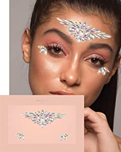 Lightbeams Face Jewels ✮ Mercy London Face Gems Jewels All In One Festival Headpiece Stick On Unicorn Ice Queen