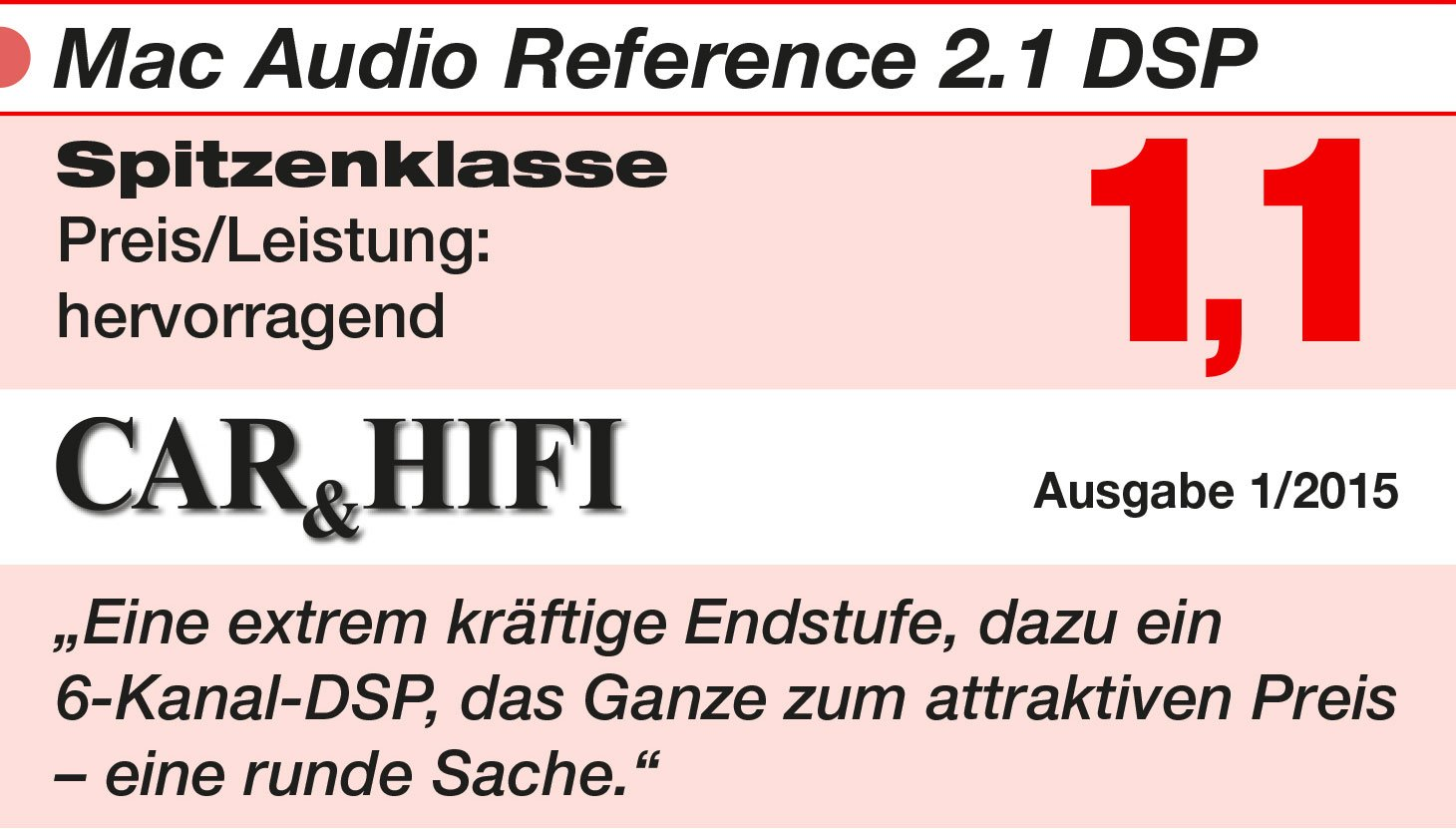 1500 Watt Mac Audio Reference 2.1 DSP-Stereo Endstufe mit High-End-Sound-Quality