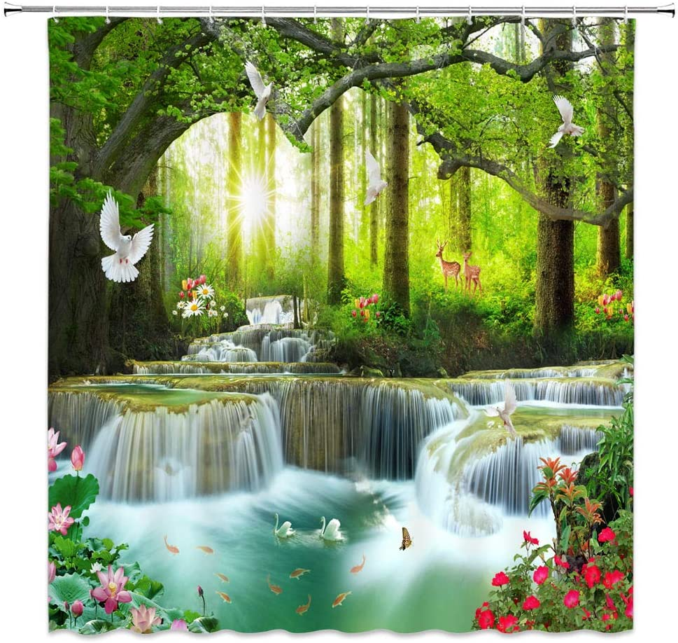 XZMAN Forest Waterfall Shower Curtain Nature Rainforest Tree Wild Animals Deer Birds Flower Butterfly Sunrise Summer Scenery Bathroom Decor Quick Drying Polyester Fabric Set 70 Inches Include Hooks