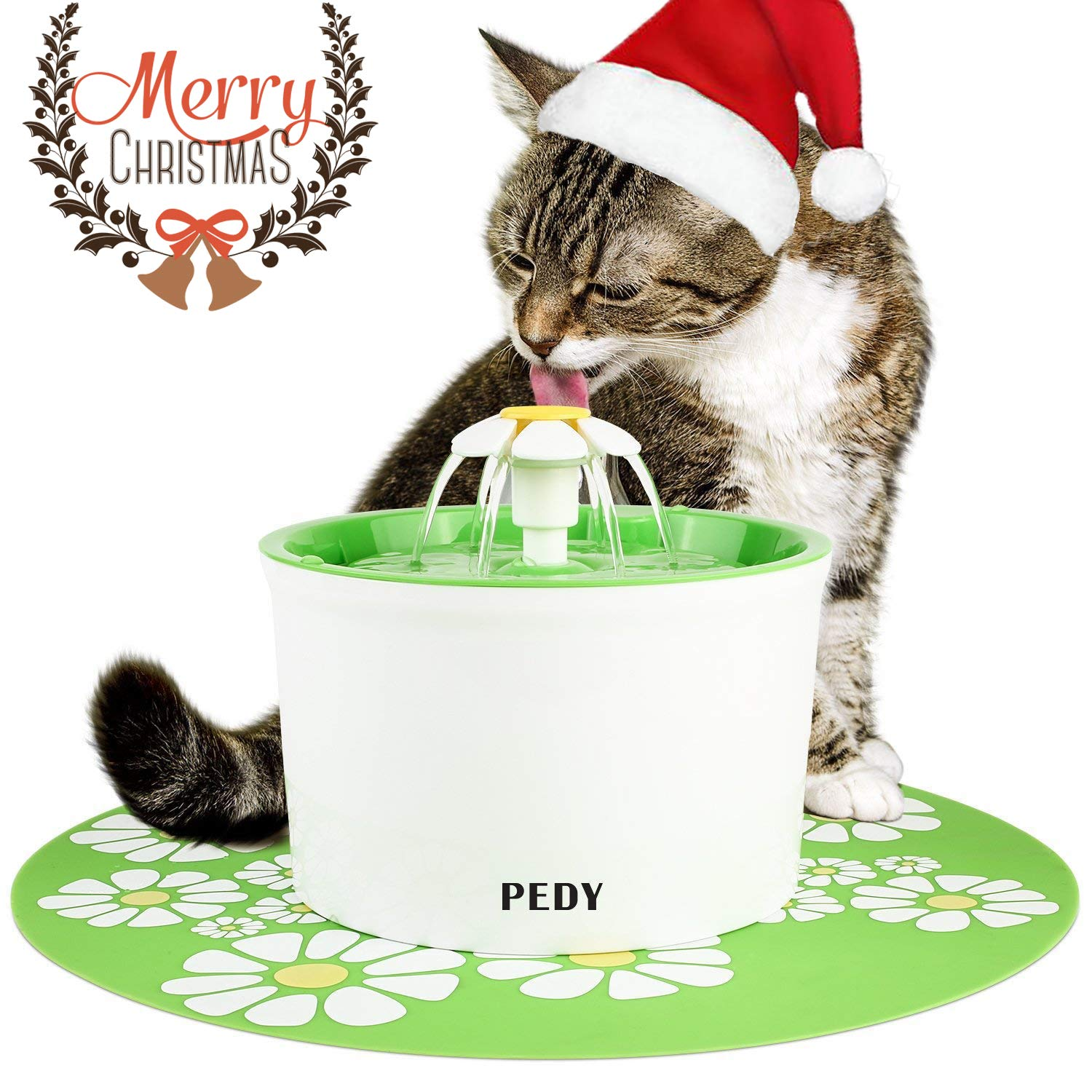 Pedy Cat Water Fountain Automatic Cat Flower Water Fountain Pet Water Fountain for Cats and Dogs with Filter Green