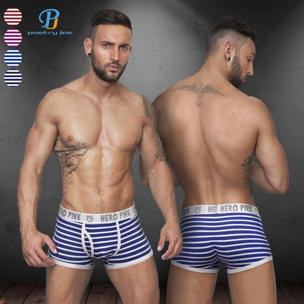 Napoo Man Underwear 5PC Mens Striped Boyshorts Boxers Soft Underpants Trunks