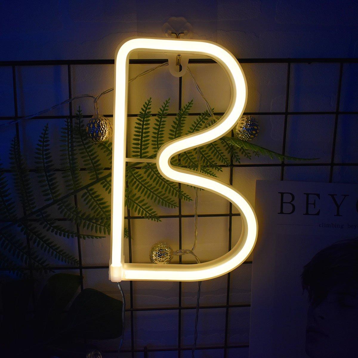 Neon Buchstaben Zeichen Nacht lichter LED Alphabet Neon Art Lichter Lampe Wand Dekor Batteriebetrieben und USB Powered fü r Hochzeit Geburtstag Hochzeit Bar Schlafzimmer Indoor Decor (N) Dream Cubby