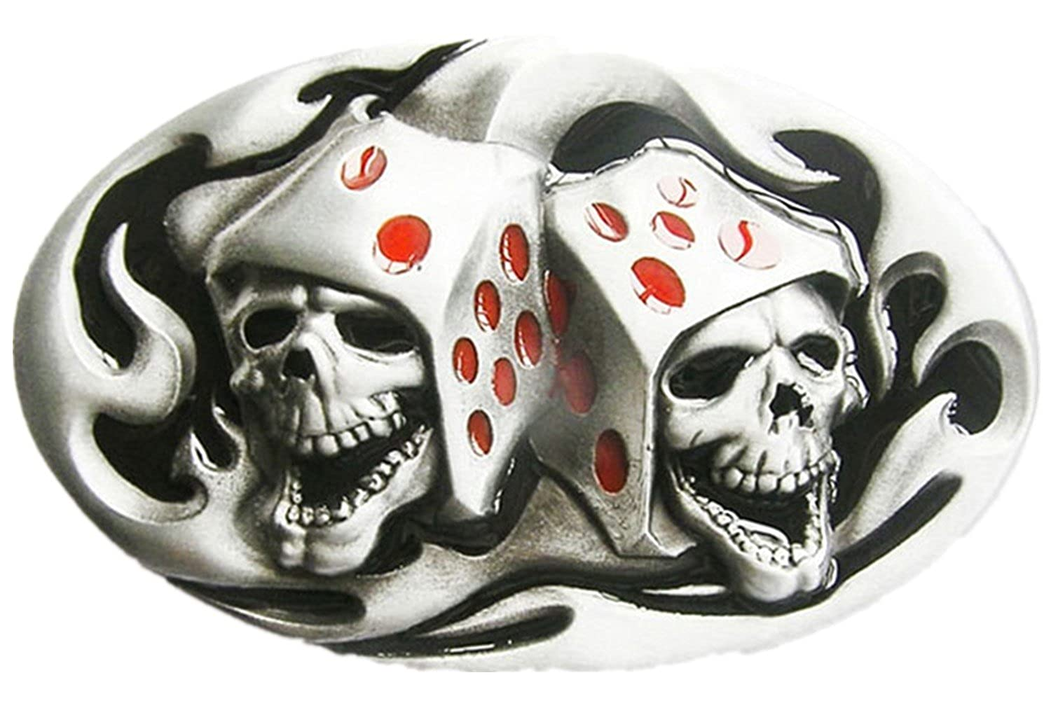 Original Tattoo Skull Dice Casino Gamble Oval Belt Buckle