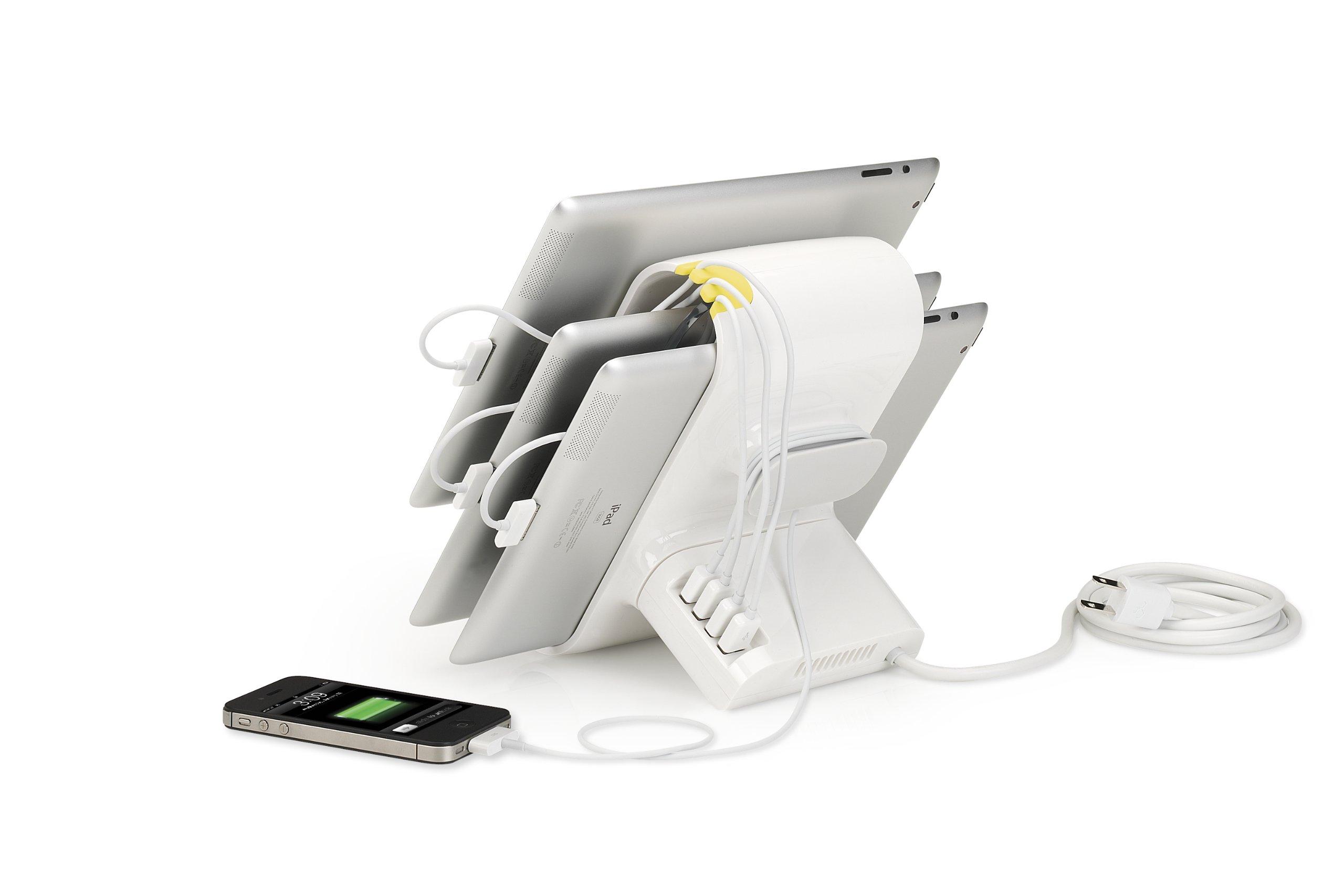 Kanex Sydnee 4-port 2.1A USB Charging Station for iPad, Kindle, Tablets, Smartphones - Snow