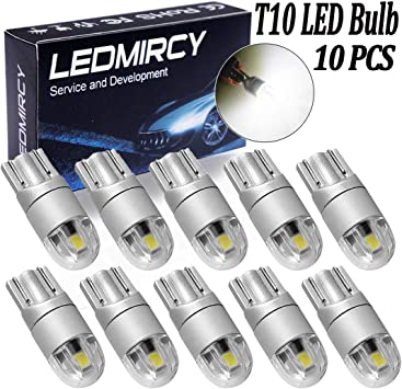 SUMOZO 6 Pack T10 W5W 501 LED Bulb 2-SMD 3030 194 168 2825 Wedge T10 Light Car Interior Dashboard Bulb Sidelight Boot Lights Number Plate Bulb DC 12V Yellow