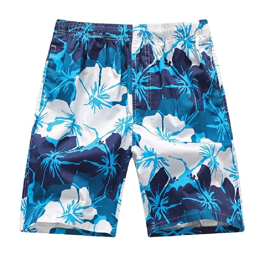 6f413d2f99 HEFASDM Men Hawaii Board Shorts Print Elastic-Waist Tropical Leisure Beach  Shorts   Amazon.com