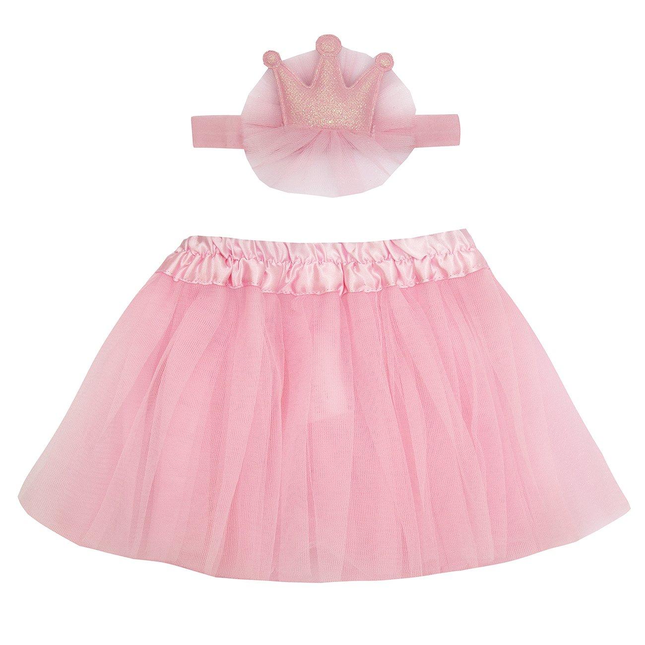 Babytown Baby Girls Tutu & Headband Set (0-24 Months, Pink & White)
