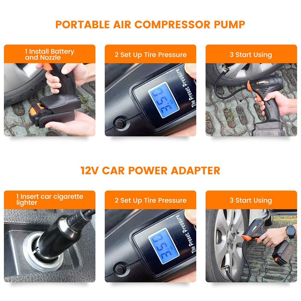 EJWOX Portable Cordless Tire Inflator Automatic Air Compressor Electric Air Pump with Easy to Read Digital Pressure Gauge Built-in LED Light