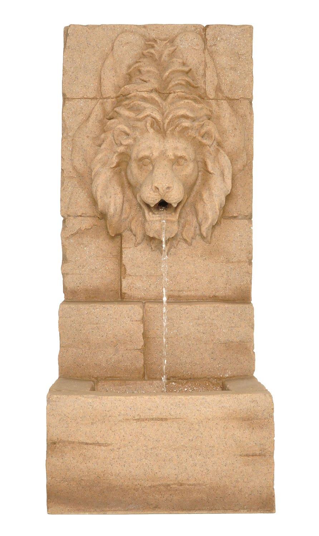 Zenvida Lion Head Waterfall Outdoor Garden Fountain 39'' Sandstone Finish
