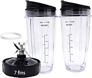 Replacement Parts For Ninja Blender - 7 fins Blender Blade Plus Two Replacement Blender Cups For Nutri Ninja Auto iQ BL682-30 BL642-30 BL450-30 BL482-30 BL687CO-30 ect