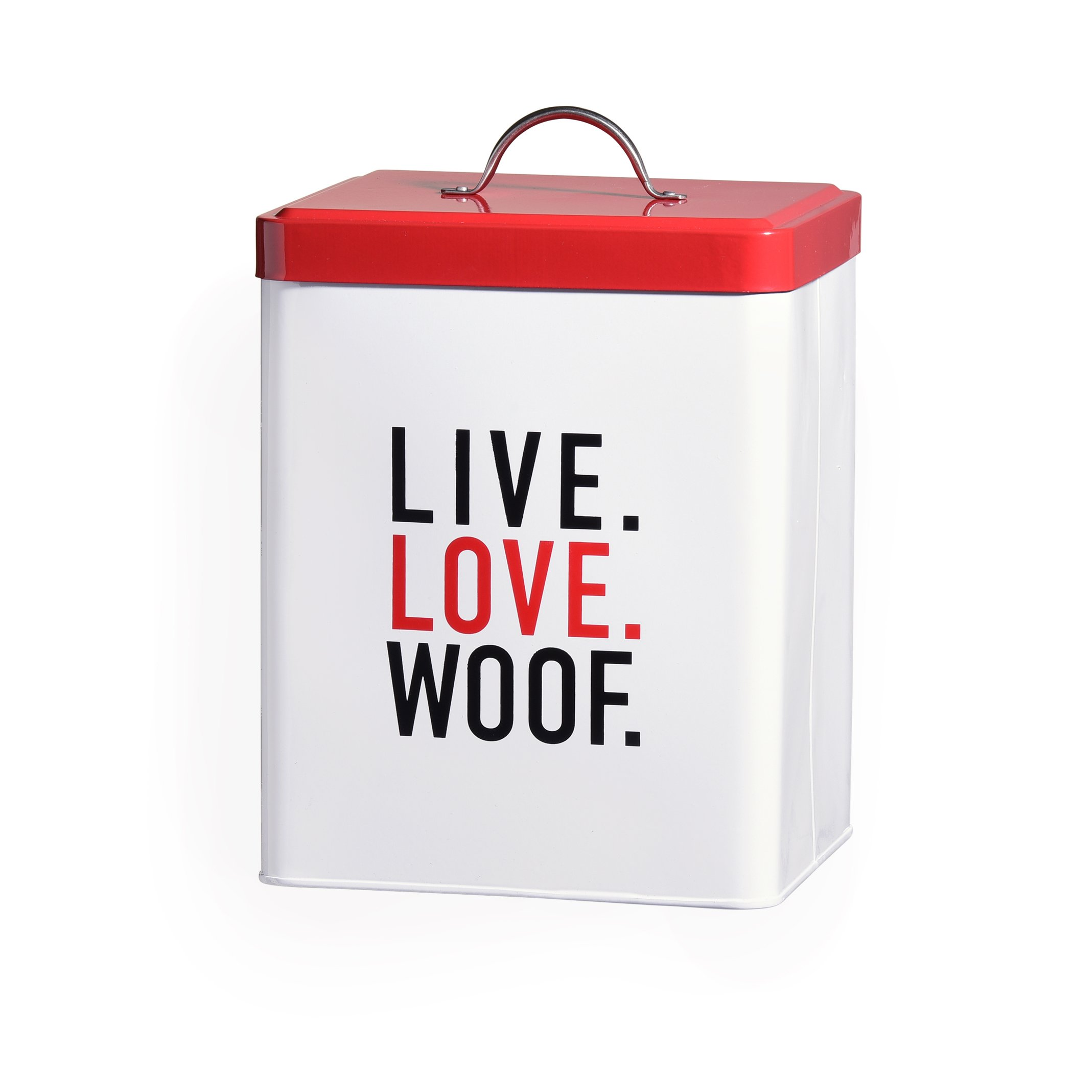 Amici Pet 7CDI038R Live Love Woof Metal Storage Canister, 208 oz, White/Red/Black