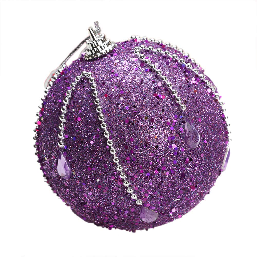 Pausseo 8cm Rhinestone Glitter Baubles Balls Merry Christmas Xmas Tree Ornament Decoration Hanging Pendant Creative Display DIY Home Decor Door Hanging Kids Toy Doll Gift Festival Prop (P)