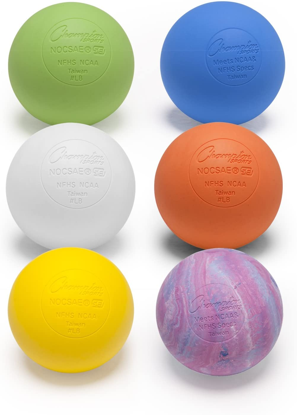 Champion Sports Official Lacrosse Balls - Multiple Colors in Packs of 1, 2, 3, 6, and 12
