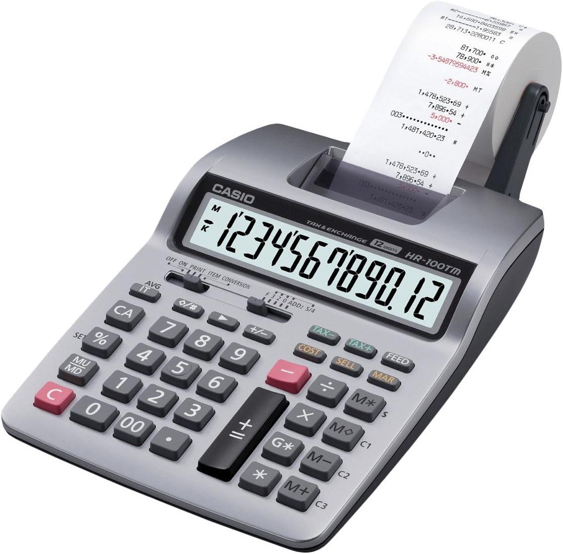 Casio HR-100TMPlus escritorio calculadora impresora plata ...