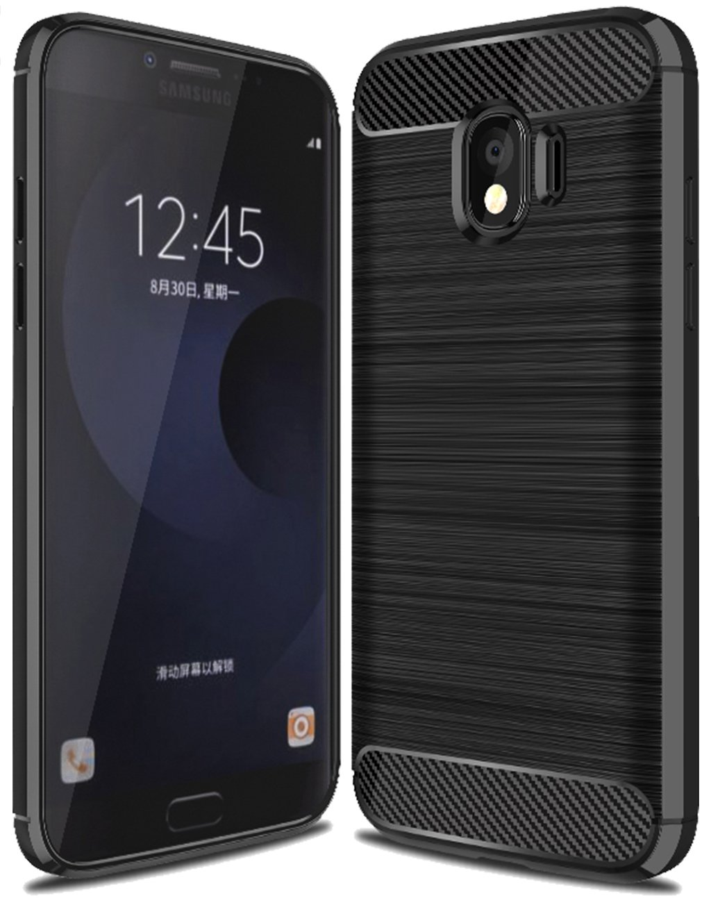 Galaxy J4 2018 Case, Sucnakp TPU Shock Absorption Technology Raised Bezels Protective Case Cover for Samsung Galaxy J4 2018 smartphone (Black)
