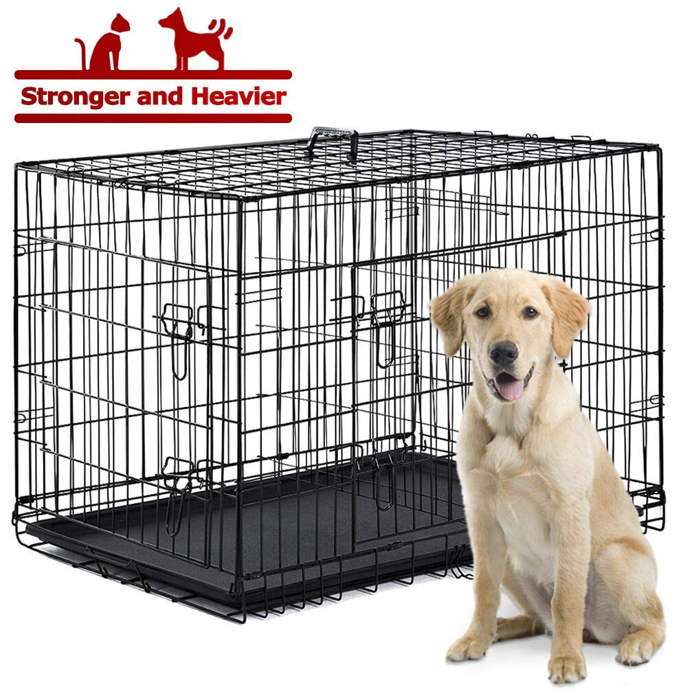 BestPet Dog Crate Cage Kennel Large Metal Wire Home Folding Double-Door Plastic Tray Pet Crate with Handle and Divider,42''