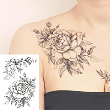 Amazon Cokohappy Temporary Tattoo Rose Floral Flower Black