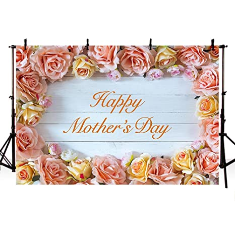 COMOPHOTO Photography Backdrop Happy Mothers Day Theme Party Photo Background 7x5ft Polyester White Wood Floor Rose