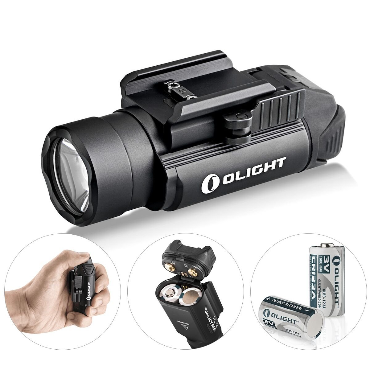 OLIGHT Bundle PL-2,PL2, pl ii Valkyrie 1200 Lumen Rail Mounted Compact Pistol Light with 2 x cr123a Batteries weaponlight Flashlight Patch by OLIGHT
