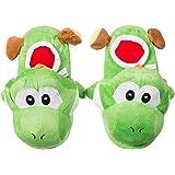 """Pantoufles en """"Dragon"""" - Vert taille 36 à 44 - Pantoufles motif en peluche comme idée cadeau - Grinscard"""