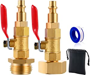 ArtJ4U Winterize Adapter with 1/4 Inch Male Quick Connecting Plug and 3/4 inch Male GHT Thread Brass Made Winterizing Quick Adapter with Ball Valve (Female Male with Tap)