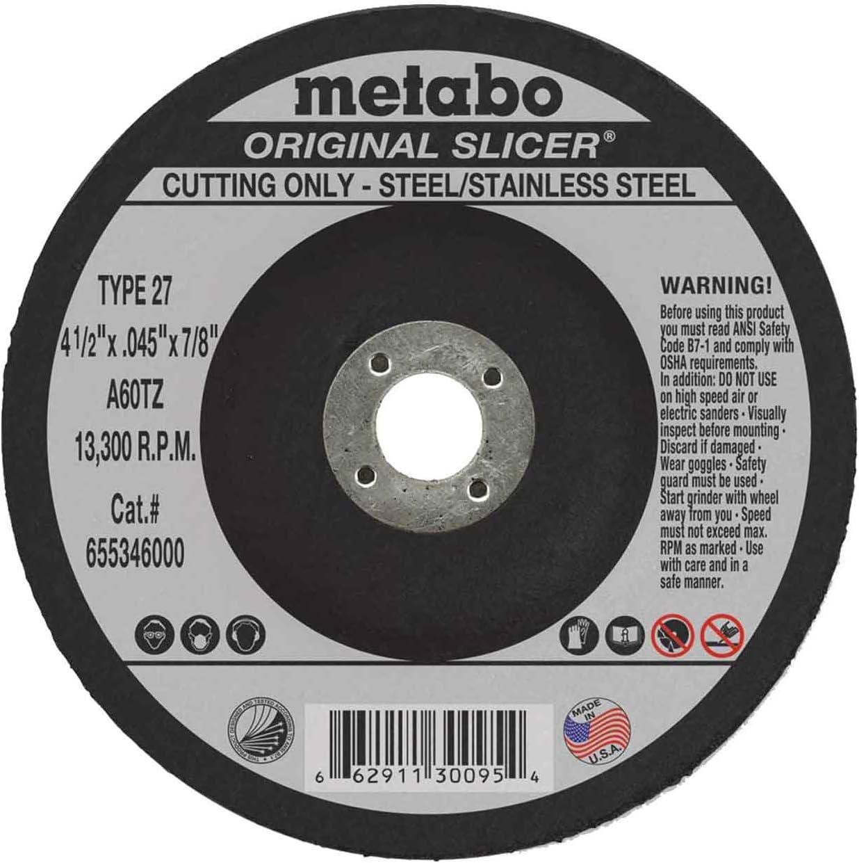 50pk Metabo 4 x .040 x 3//8-Inch A60TZ Type 1 Slicer Cutting Wheel