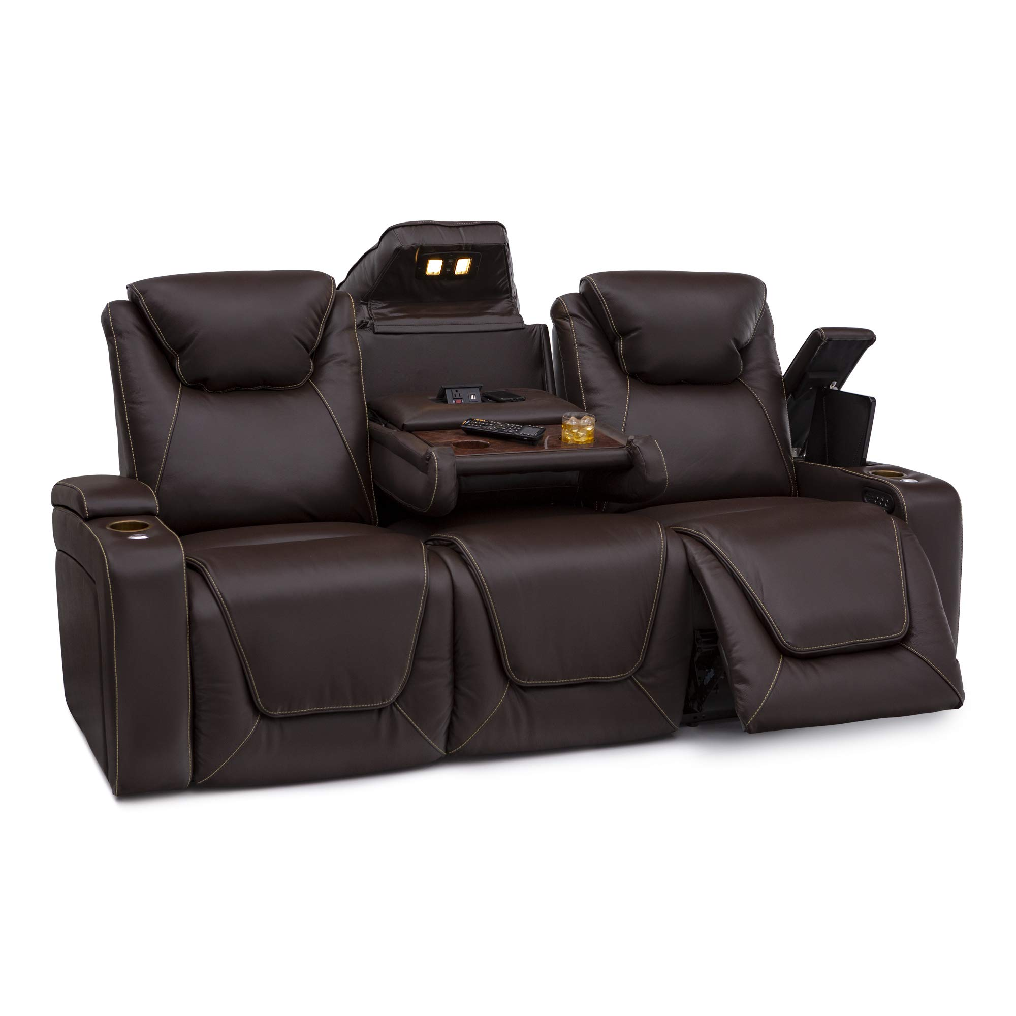 Seatcraft Vienna Home Theater Seating Leather Sofa Recline, Adjustable Headrest, Powered Lumbar Support, and Cup Holders (Sofa, Brown) by Seatcraft