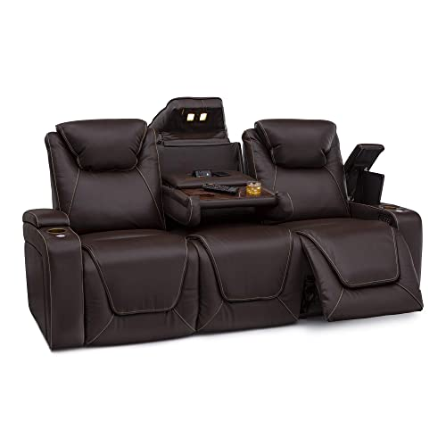 Seatcraft Vienna Home Theater Seating Leather Sofa Recline, Adjustable Headrest, Powered Lumbar Support, and Cup Holders Sofa, Brown