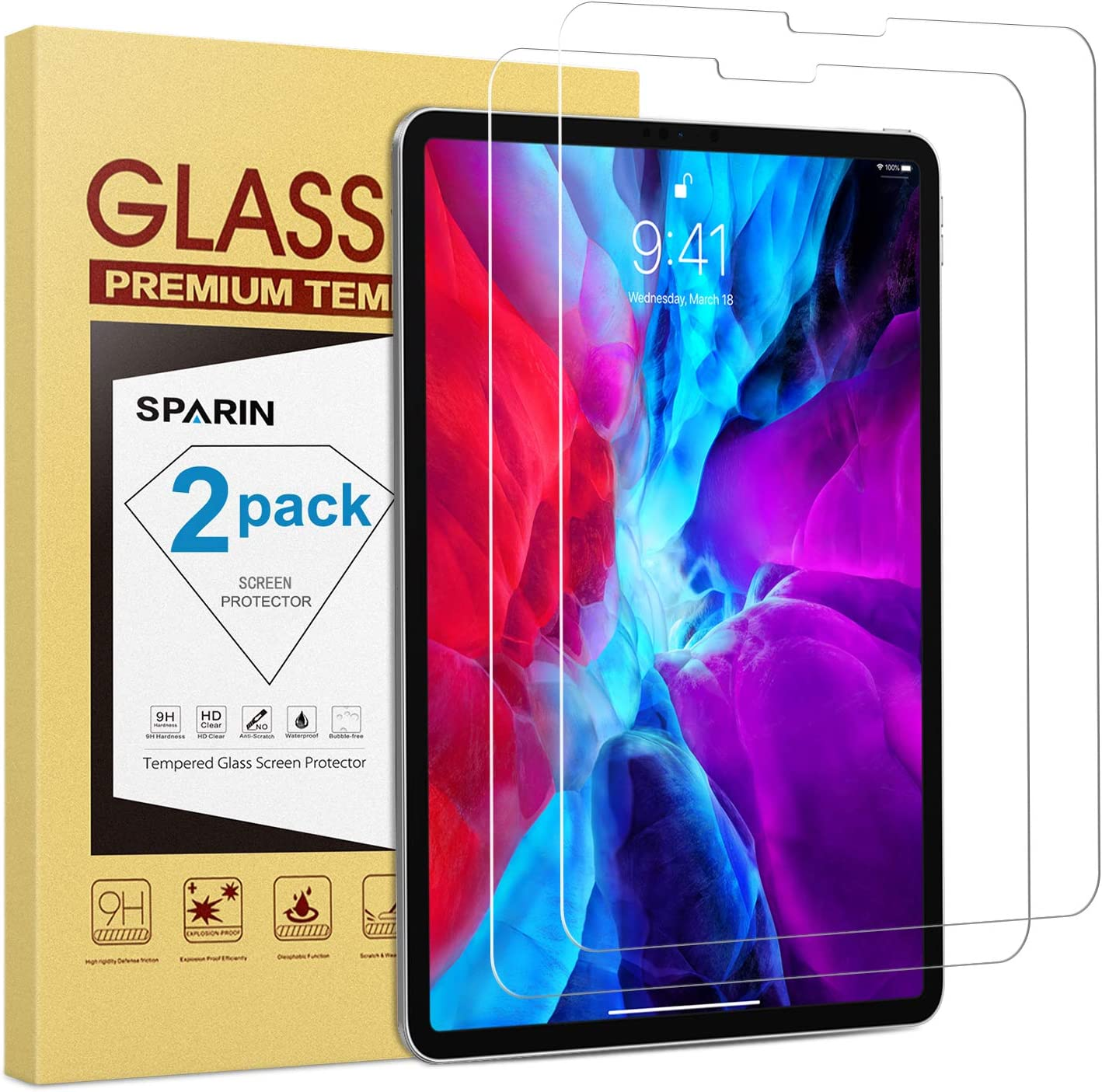 SPARIN (2 Pack) Screen Protector for iPad Pro 12.9 inch (2020 & 2018, 4th and 3rd Generation), Tempered Glass Screen Protector Work with Face ID / Apple Pencil