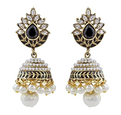 d00a32fc2 Buy ZIVOM® Black Meena Marquise American Diamond Jhumki Earring For Women  Valentine Gift Online at Low Prices in India | Amazon Jewellery Store -  Amazon.in