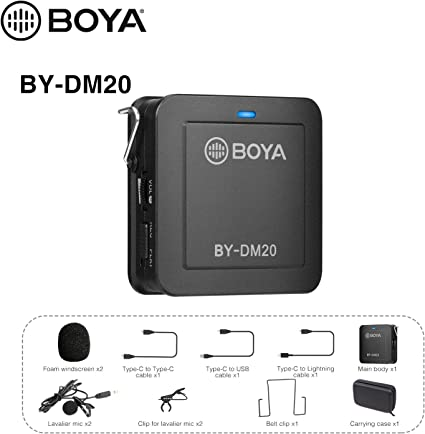 Amazon Com Boya By Dm20 Compact Dual Channel Lavalier Microphone