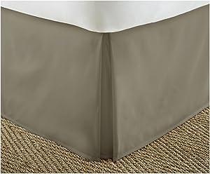ienjoy Home IEH-BEDSKIRT-QUEEN-TAUPE Home Collection Bed Skirt Pleated Bed Skirt, Queen, Taupe
