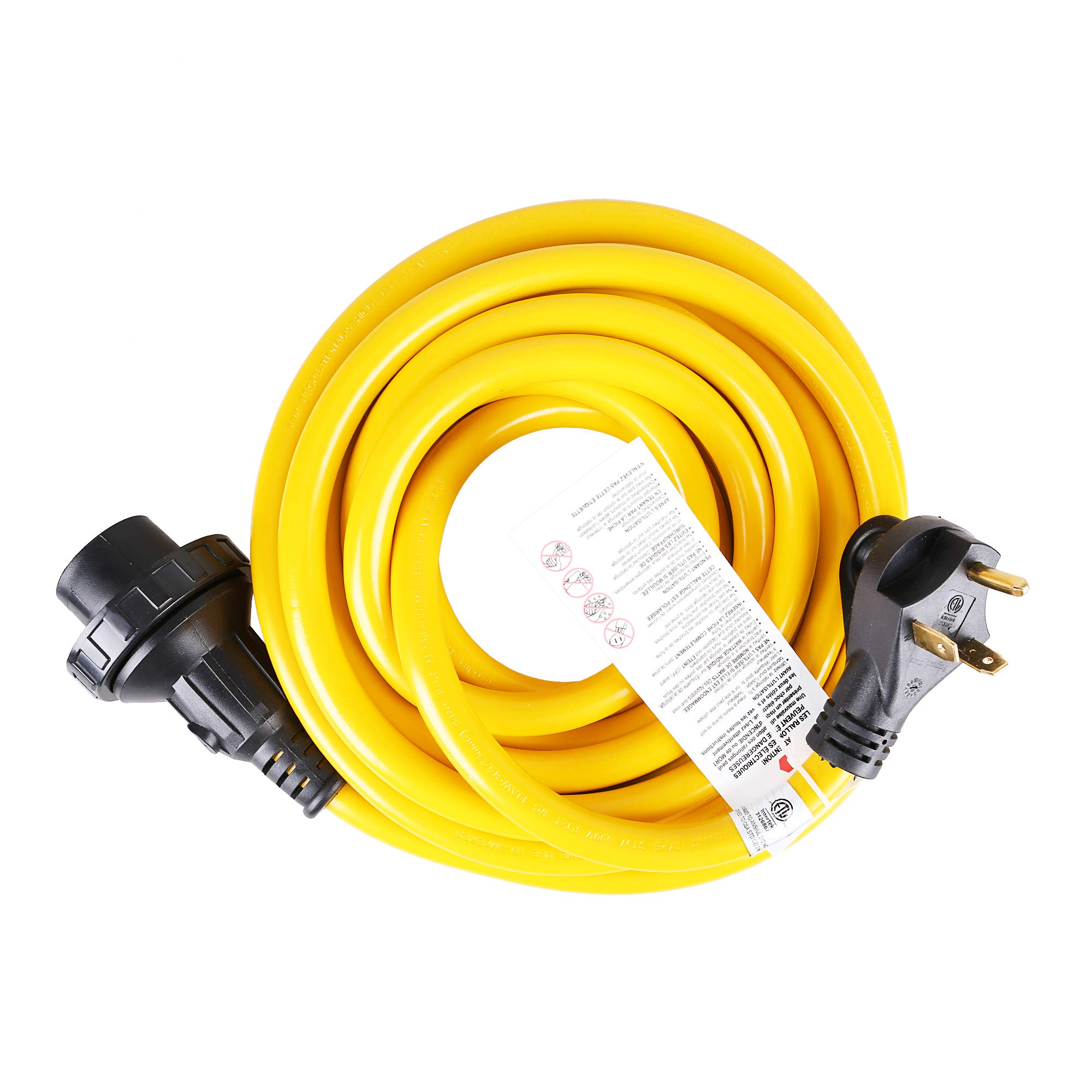 TREKPOWER 10AWG 25' Marine Power Cord Extension Cord with 30 AMP Power Grip Male Standard Plug and 30 AMP Female Locking Connector for Boat to Shore/RV - (Black/Yellow)