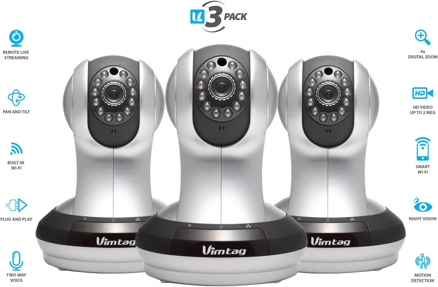 Plug//Play Vimtag P1 Premium IP Wifi Network Security Camera Pan//Tilt