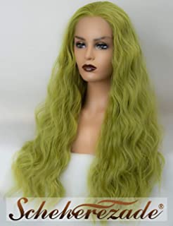 Wavy Green Lace Front Wigs for Women Scheherezade Long Synthetic Green Lace Wig 22 Inches Glueless