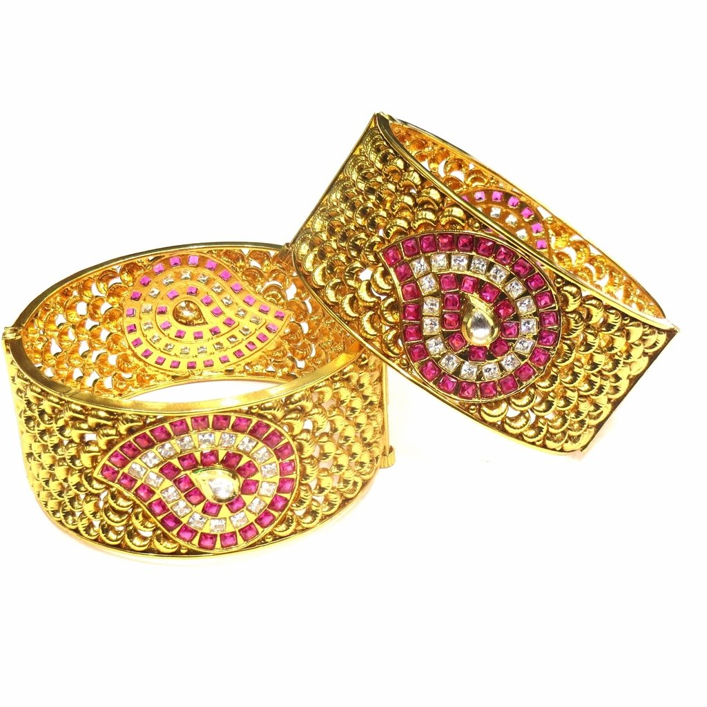 Jewelshingar Jewellery Antique Gold Plated Bangles For Girls ( 16224-m-ruby-2.8 )