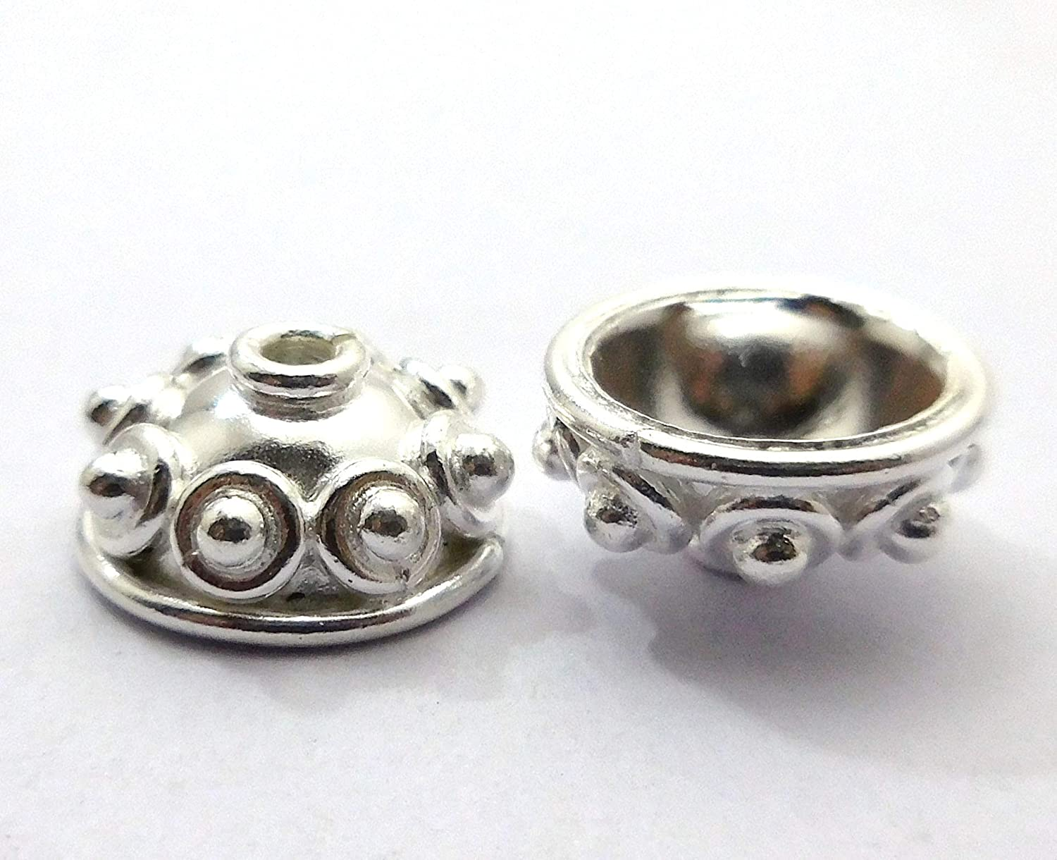6 Pieces 15X7mm Bali Bead Cap 12mm Inner Sterling Silver Plated B275