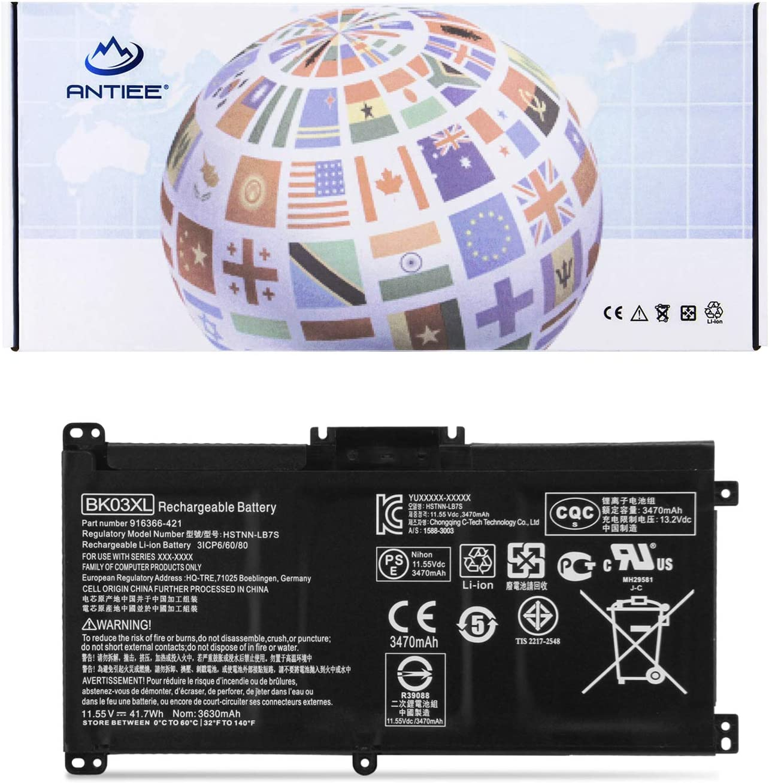 ANTIEE 41.7Wh BK03XL Laptop Battery for HP Pavilion x360 Convertible 14m-ba1xx 14m-ba0xx 14m-ba000 14m-ba011dx 14m-ba013dx 14m-ba014dx 14m-ba015dx 14m-ba114dx 14-ba000 14-ba175nr 14-ba110nr 916366-421