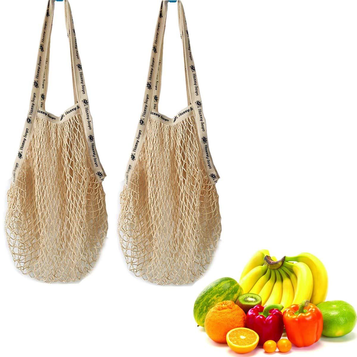 Natural Cotton Mesh Reusable Grocery Bags Net Shopping Bag Ecology Produce Bag Set of 2 (Beige_Long Handle with Silk Screen) by LLygezze (Image #1)
