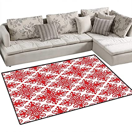Amazon Com Red Area Rugs For Bedroom Western Style Floral