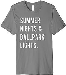 06023685 Summer Nights & Ballpark Lights Tee Baseball Mom T-Shirt