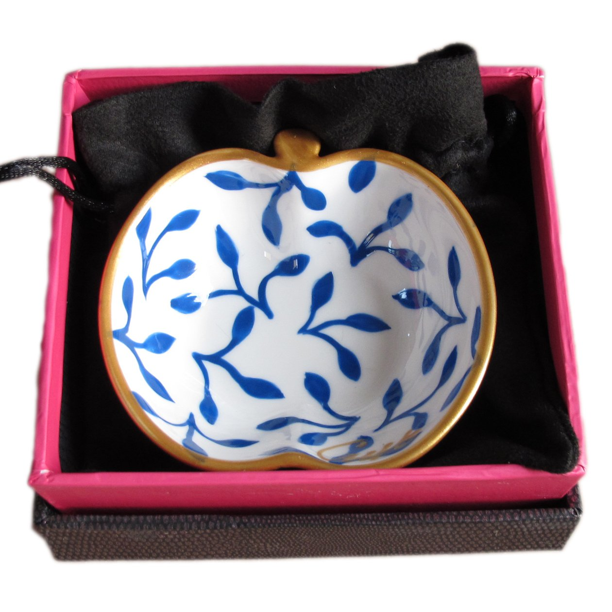 'Muse' - a blue and white hand painted bone china apple bowl in a Luxury Gift Box for a sophisticated present or for anniversary or wedding for decoration, dressing table, bathroom or kitchen Caroline @ CHH Design
