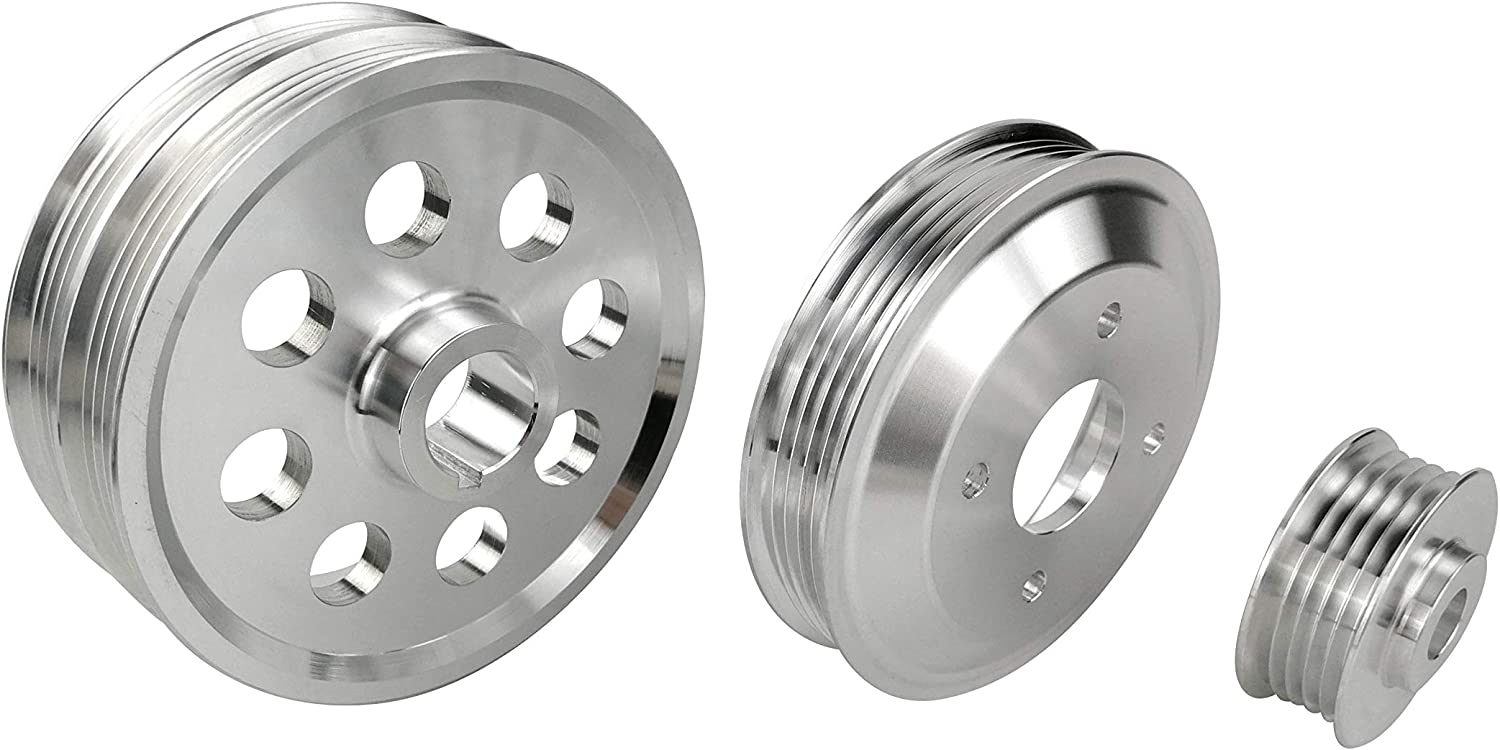 Lightweight Pulley Kit for Toyota 4AGE Celica Corolla GEO Prizm Levin AE95 AE101 Mr2 Polished 3 pcs
