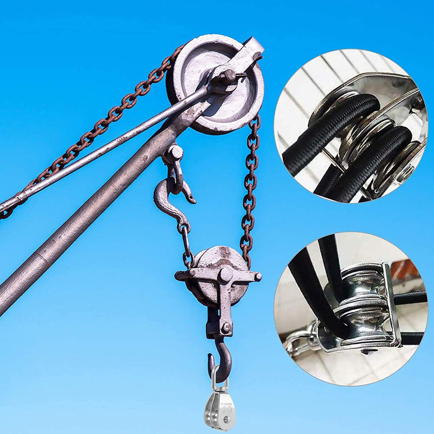 Construction Transportation Crane Swivel Hook for Large Kayak Mining 2Pcs M20 Double Swivel Pulley Block Heavy Duty Stainless Steel Lifting Double Pulley Block Factory Family