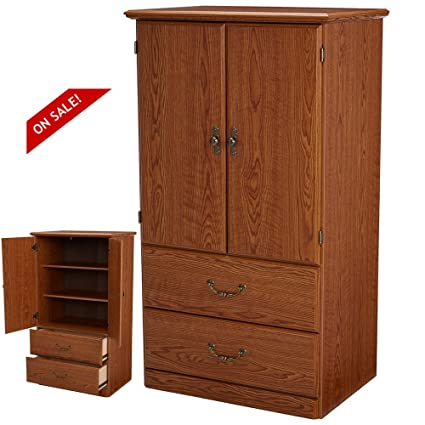 Amazon Com Wooden Wardrobe Cabinet Bedroom Storage Organizer For