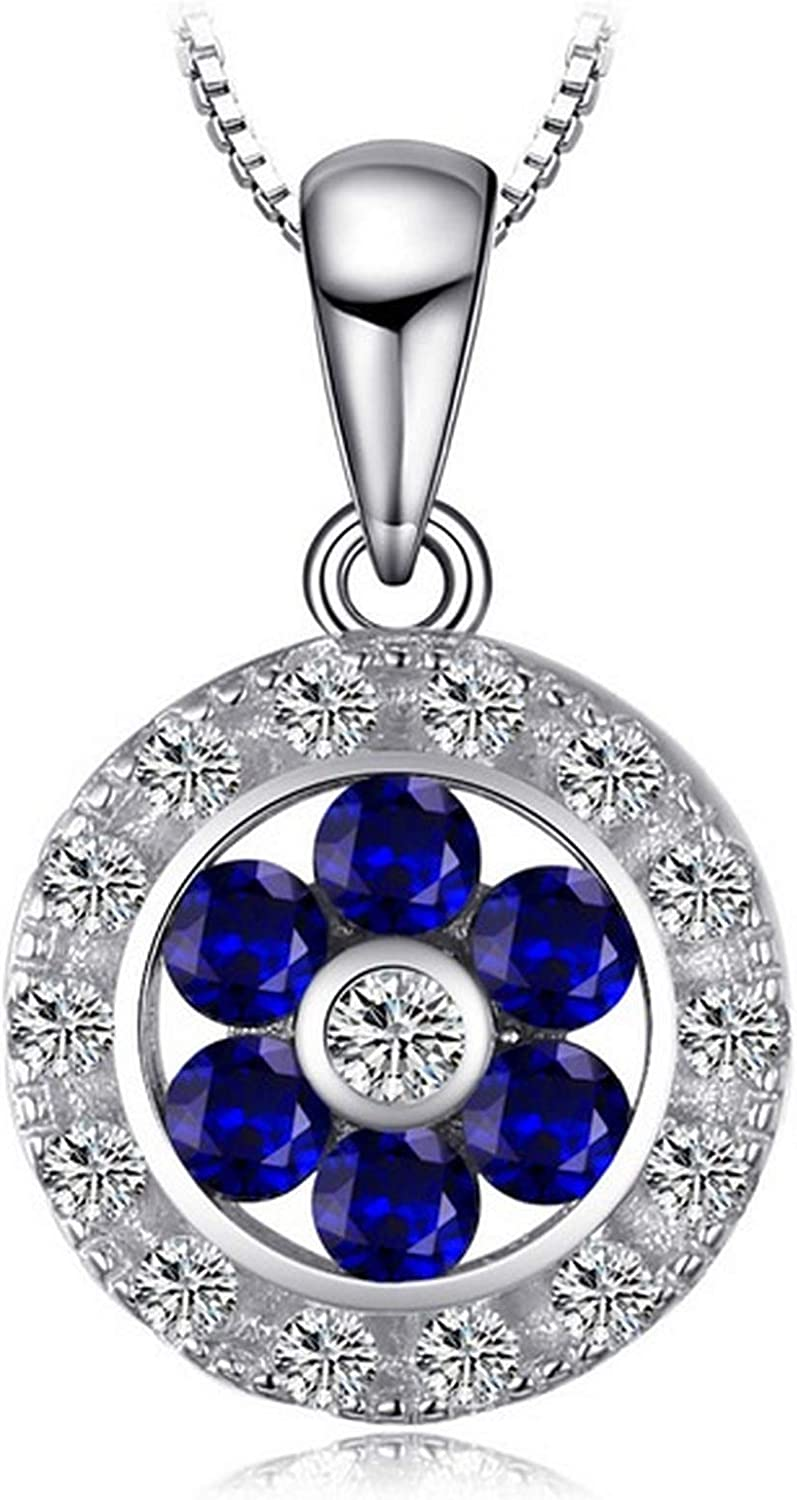 CS-DB Silver Flower 0.7 ct Beauty Blue Spinel RoundPendants Necklaces For Womens