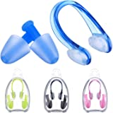 Pangda 4 Pack Swimming Nose Clips and Earplugs Kits for Adults and Kids, 4 Colors
