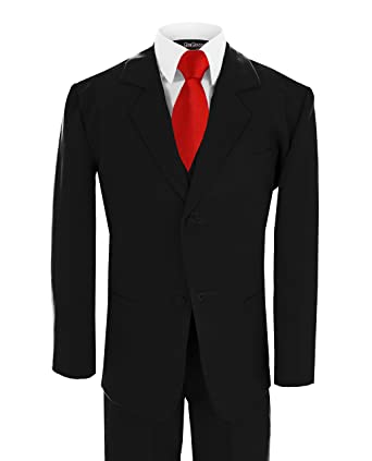 Amazon.com: Gino Giovanni Boy Black Suit with Solid Red Tie From ...