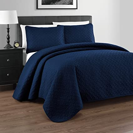 Zaria 3 Piece Quilt / Coverlet Set, King/Cal King, Navy Blue