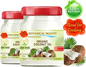 ORGANIC COCONUT OIL. 100% Pure. EXTRA VIRGIN / UNREFINED / FAIR TRADE / RAW / COLD PRESSED. AMAZING SUPER FOOD. GOOD FOR COOKING. 7.75 Fl.oz – 225 ml. ( pack 2)